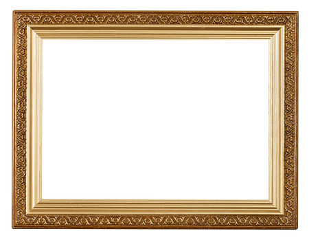 wide gold picture frame with carved pattern isolated on white background
