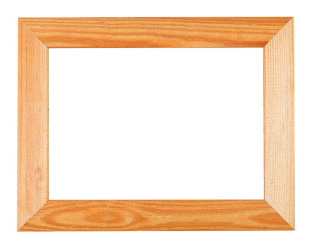 wide simple wooden picture frame isolated on white background photo