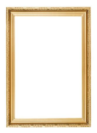 彫刻パターンの白い背景で隔離のゴールド額縁
