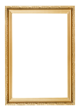 gold picture frame with carved pattern isolated on white background