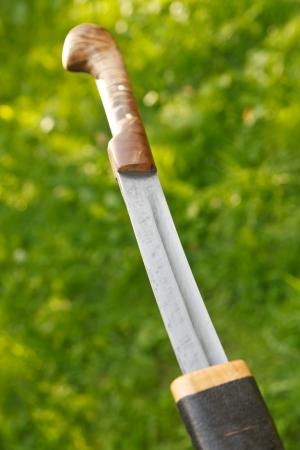 unsheathing: cossack saber unsheathing from wooden sheath Stock Photo