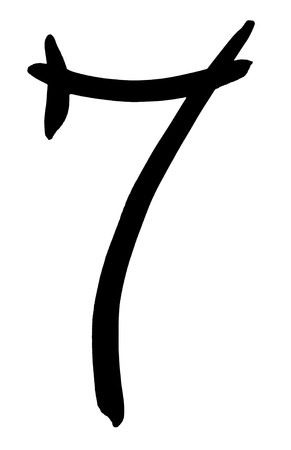 arabic numeral: Arabic numeral 7 hand written in black ink on white background