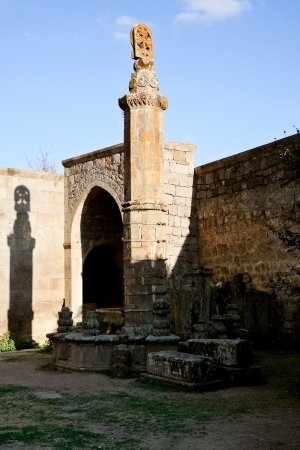 Seismographic balancing pillar Gavazan in Tatev Monastery in Armenia photo