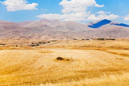 view of mountail plateau near Sisian town in Armenia in autumn day photo