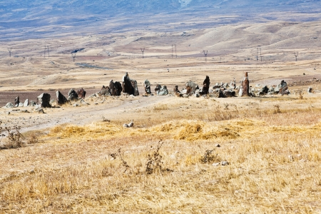 view of Zorats Karer (Carahunge) - pre-history megalithic monument in Armenia Stock Photo