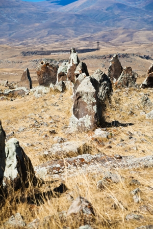 lith: standing menhirs of Zorats Karer (Carahunge) - pre-history megalithic monument in Armenia