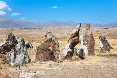 lith: megalithic standing stone of Zorats Karer (Carahunge) - pre-history monument in Armenia Stock Photo