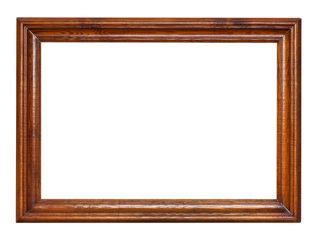creative pictures: wooden brown picture frame isolated on white background