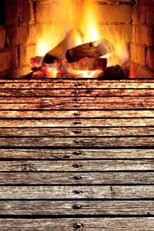 concept - edge of wooden bridge to fireplace photo