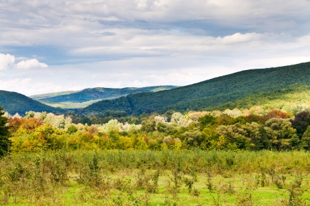 anomalous: panorama of caucasian mountains in Shapsugskaya anomalous area in early autumn day