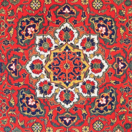 20th: traditional ornament of Central Asian vintage carpet on middle of the 20th century