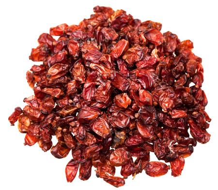 barbery: top view of handful red barberries spices isolated on white background