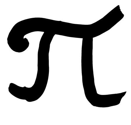 greek alphabet: greek letter pi hand written in black ink on white background