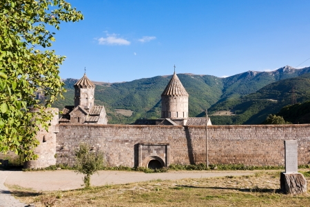 outdoor view of stone walls of Tatev Monastery in Armenia