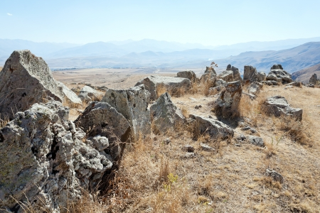 cyst: standing stones of Zorats Karer (Carahunge) - pre-history megalithic monument in Armenia