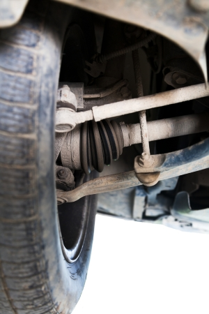 raiser: inspection of car suspension at auto station