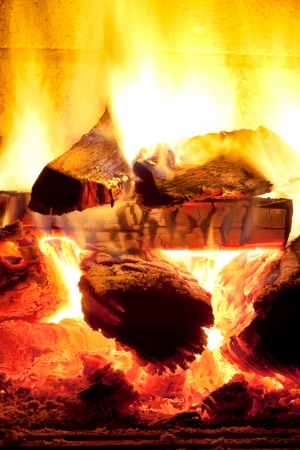burning time: burning wood in fireplace in evening time