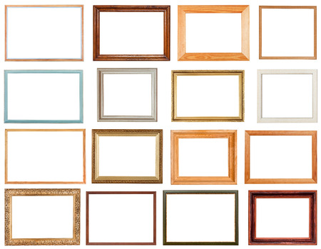simple frame: set of horizontal picture frames with cutout canvas isolated on white background