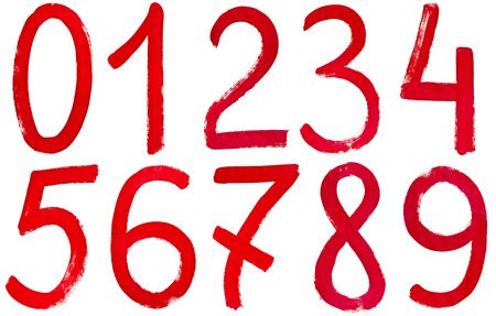 arabic numerals: set of Arabic numerals hand written by red paint on white background