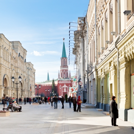 walking zone: MOSCOW, RUSSIA - OCTOBER 13: Red Square and Nikolskaya street in Moscow, Russia on October 13, 2013. This historic street connects Red Square and Lubyanka Square and it became pedestrian area in 2013