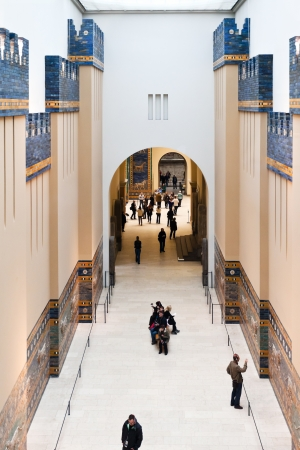 ishtar gate of babylon: BERLIN, GERMANY - OCTOBER 16: people in Ishtar Processional Way Hall of Pergamon museum in Berlin on October 16, 2013. Museum the most visited in Berlin it hosts more than 1.5million visitors per year