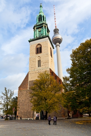 BERLIN, GERMANY - OCTOBER 17: facade Marienkirche (St. Mary Church) in Berlin, Germany on October 17, 2013. This church was first mentioned in German chronicles in 1292.