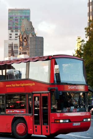 str: BERLIN, GERMANY - OCTOBER 18  tourist double decker bus on Tauentzienstrasse in Berlin on October 18, 2013  Tauentzienstrasse is major shopping street in the western inner city of Berlin Editorial