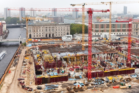 above view of urban construction site in Berlin photo