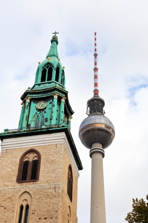 fernsehturm tv tower and marienkirche in Berlin photo