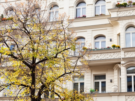 property berlin: facade of residential house of 19th century and yellow linden in Berlin in autumn
