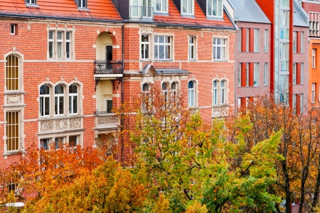 str: brick facade of residential building of 19th century in Berlin in autumn Stock Photo