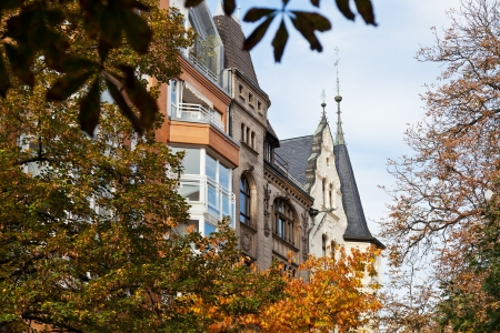 property berlin: autumn view of western Berlin street Fasanenstrasse Stock Photo