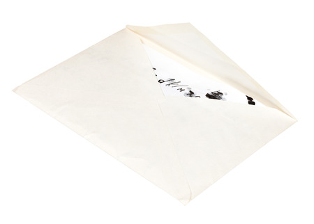 open white envelope with letter with children scribbles isolated on white background photo