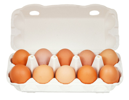 ten chicken eggs in cardboard container isolated on white background photo