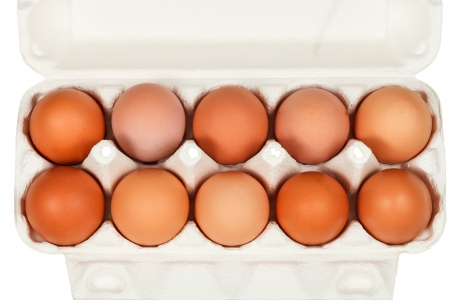 top view of chicken eggs in cardboard box isolated on white background photo
