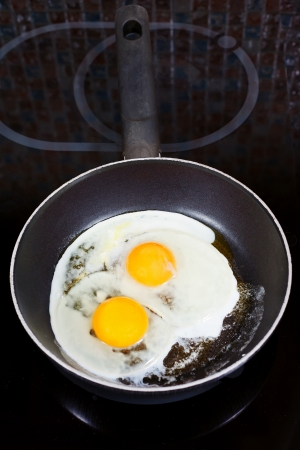 two fried eggs in frying pan on electric stove photo