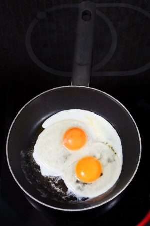 two fried eggs in hot frying pan on electric stove photo