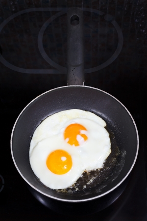 two prepared fried eggs in frying pan on electric stove photo