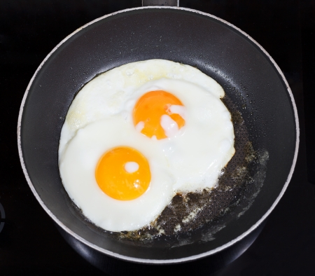 top view of two fried eggs in frying pan on electric stove photo