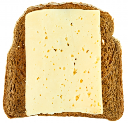 top view of rye bread and cheese sandwich isolated on white background photo