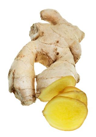 fresh sliced ginger root isolated on white background photo