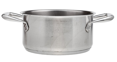 side view of open small stainless steel pan isolated on white background photo