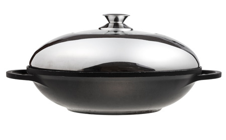 side view of flatter-bottomed wok pan covered by metal lid isolated on white background photo