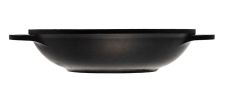 side view of flatter-bottomed karahi pan isolated on white background photo