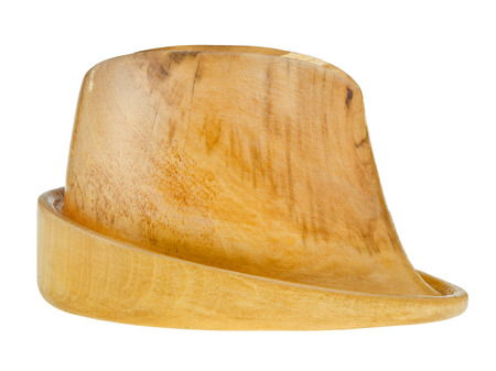 side view of linden wooden hat block isolated on white background Banco de Imagens