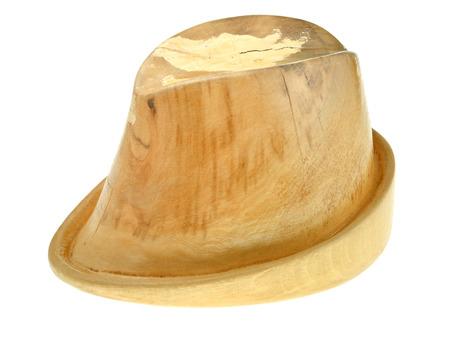 linden wooden hat block isolated on white background