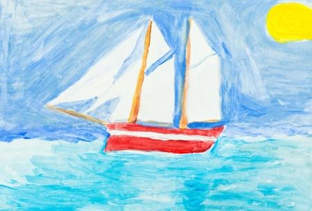 tallship: children painting - sailing vessel in blue ocean under yellow sun Stock Photo