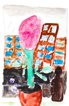 windowsill: children drawing - pink flower in pot and brown bottle on home windowsill