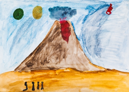 children drawing - people near active volcano in extraterrestrial world photo