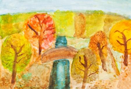 bambini disegno: disegno bambini - ponte sul fiume in giallo foresta di autunno Archivio Fotografico